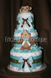 Baby Boy Monkey Diaper Cake Shower Centerpiece Hospital Gift