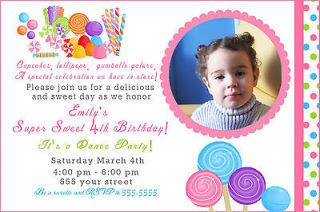 Candyland Sweet Shop Candy Girl Birthday Invitations Photo Card