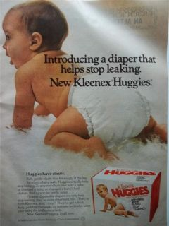 Cute Baby Wearing Huggies Disposable Diapers Photo Vintage Print Ad
