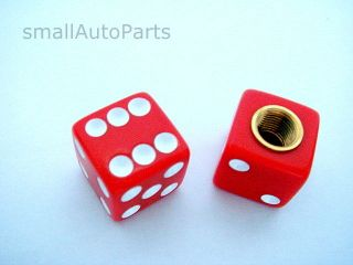 Red Dice Gem Old School BMX Bike Tire Stem Valve Caps Covers