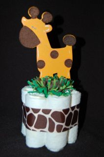 Mini Diaper Cake JUNGLE SAFARI ZOO ANIMALS Baby Shower/Nursery