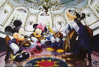DISNEY MICKEY MOUSE & FRIENDS PLAYING VIOLINS POSTER  MINNIE, DONALD