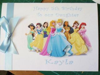 HANDMADE PERSONALISED DISNEY PRINCESS BIRTHDAY CARD ANY NAME,AGE or