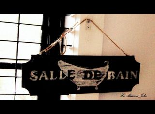 SIGN WOODEN SALLE DE BAIN SHABBY CHIC RUSTIC FRENCH PROVINCIAL HOME
