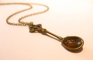 Alice in Wonderland Jewelry   Antique Tea Spoon Necklace  Vintage Gold