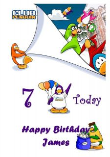 LARGE A5 CLUB PENGUIN Personalised Birthday Card Grand Son / Daughter