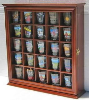 25 Shot Glass Display Case Rack Holder Cabinet, Fancy Glass Door SC01B