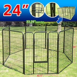 New Black 8 Panel 24 32 40 Heavy Duty Pet Playpen Dog Exercise Pen