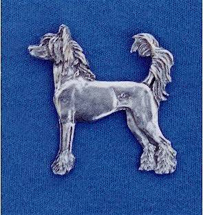 Chinese Crested Hairless pewter pin #22C Dog Jewelry