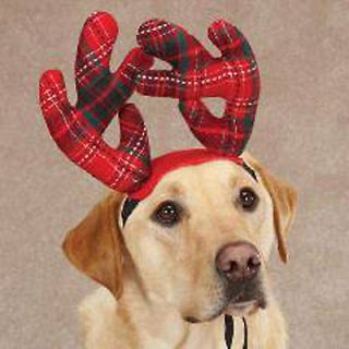 Christmas Holiday Red Tartan Plaid Antlers for Dogs~2 Sizes~Ships Free