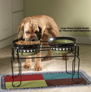 Dog Feeder Double Dish Station Cobalt Blue Paw Print bowls 95607