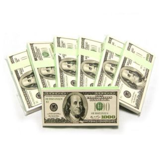 Lot 3x Brand New 1000 Fake Dollar Bills Writing Notes Memo Fun Toy