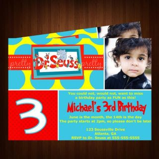 DR SEUSS CAT AND THE HAT BIRTHDAY PARTY INVITATION PERSONALIZED W
