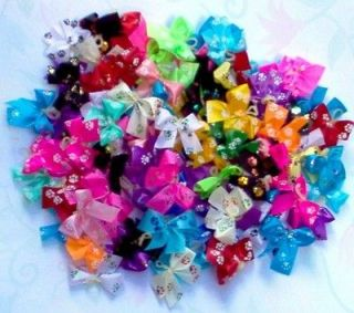 Dog Grooming Bows 50 Puppy Paw Prints Dog Bows Yorkie Shih tzu Poodle