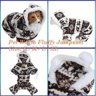 Pet Dog Puppy Christmas Raindeer Jumpsuit Coat Warm Fluffy Pajamas