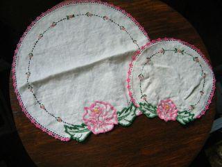Embroidered Dresser Scarf Set 2 Off White Floral Pink Crochet Trim