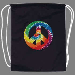 Tie Dye Hippie Peace Sign Drawstring Backpack tote bag