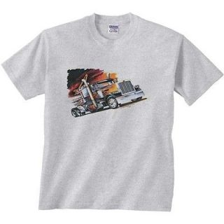 Truck Driver T Shirt Black Truck At Cafe Tee Big Rig Shirt Semi