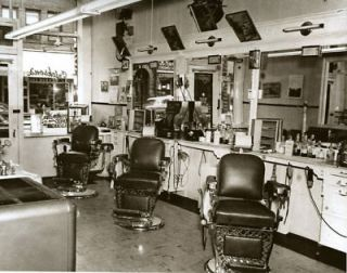 Vintage 1950 Barber Shop Barber Chairs Real Photo GREAT
