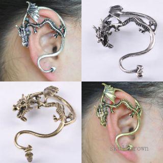 Gothic Punk Rock Temptation Dragon Ear Stud Suff Wrap Clip Earring