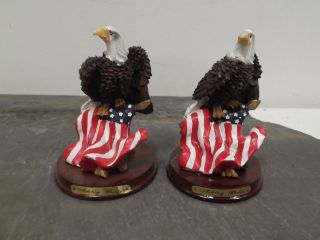 Set of Two Ashley Belle American Eagle Figurines With Flags