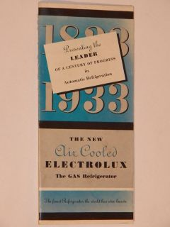 VINTAGE 1933 ELECTROLUX GAS REFRIGERATOR BROCHURE/CATALOG! CENTURY OF