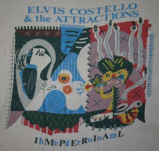 ELVIS COSTELLO vintage 1982 tour t shirt   punk new wave rock concert