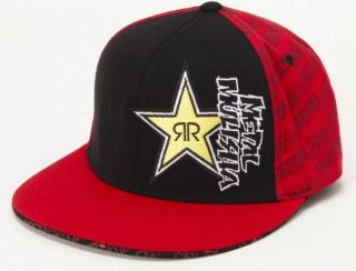 MULISHA RS RUSHER ROCKSTAR ENERGY DRINK MENS FLEXFIT RED / BLACK CAP