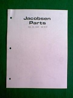 JACOBSEN SNOW BLOWER SNO BLITZ MODEL 51609 PARTS MANUAL