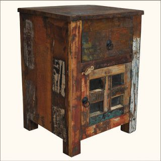 Reclaimed Wood Distressed Bedside End Table Storage Drawer Nightstand