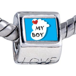 PUGSTER HEART MY BABY BOY FOOT BLUE CHARM PHOTO BEAD FOR BRACELET T73