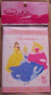 Disney Princess * 5 INVITATIONS WITH ENVELOPES * BILINGUE