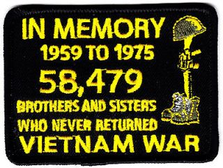 IN MEMORY VIETNAM WAR CUSTOM EMBROIDERED PATRIOTIC MILITARY PATCH