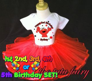 black red elmo stars birthday shirt & tutu set outfit age name 1st 2nd