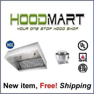 foot Commercial Restaurant Kitchen Hood System w/ Exhaust Fan & Curb