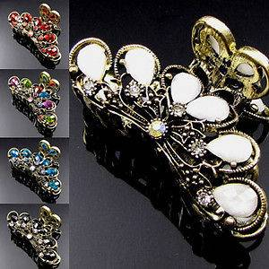 1pc rhinestone crystal Antiqued flower hair claw clip