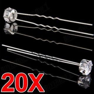 20 Wedding Bridal Party Crystal Rhinestone Hair Pins