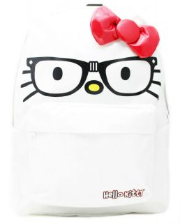 Sanrio Hello Kitty White Nerd Face with Glasse Red 3D Bow Backpack Bag