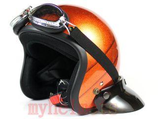 Old School Metal Flake Open Face Helmet Scooter Motobike Orange