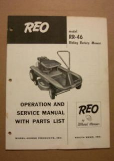 VINTAGE ORIGINAL WHEEL HORSE PARTS & SERVICE MANUAL RR 46 RIDING MOWER