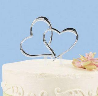 DOUBLE HEART WEDDING CAKE TOPPER SILVER