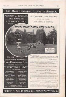 1904 HENDERSON LAWN CARE EQUIPMENT GRASS SEED WORKING FARM HORSE AD