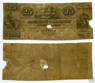 1837 25¢ American Exchange Company   Obsolete Bank Note