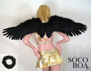 Black Feather Angel Wings Large Costume Props FREE HALO party cosplay