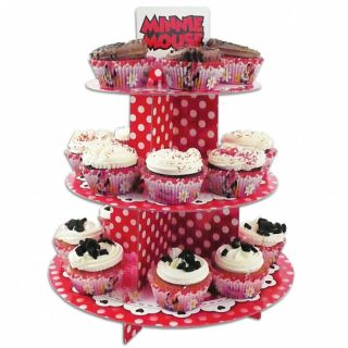 30cm Disney Minnie Mouse Red Polka Dots Party 3 Tier Cupcake Cake