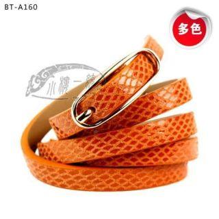 Toned Pin Buckle Fish Skin Embossed Skinny Belt ladies belts BT A160