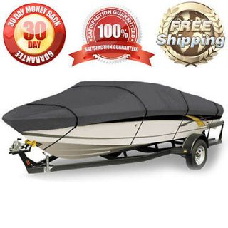 WATERPROOF BOAT COVER V HULL FISHING BOAT 14 15 16 FT GRAY STORAGE