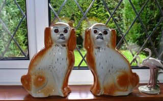 Pair Of Mid 19th c Staffordshire Glass Eye Mantle/Wally Dogs/Spaniels