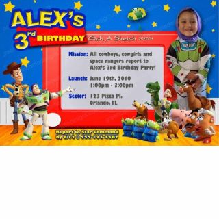 Invitation   Custom Personalized Birthday Party Invites   Woody Buzz 3