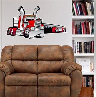Kenworth Big Rig Flatbed Truck WALL GRAPHIC FAT DECAL MAN CAVE KIDS
